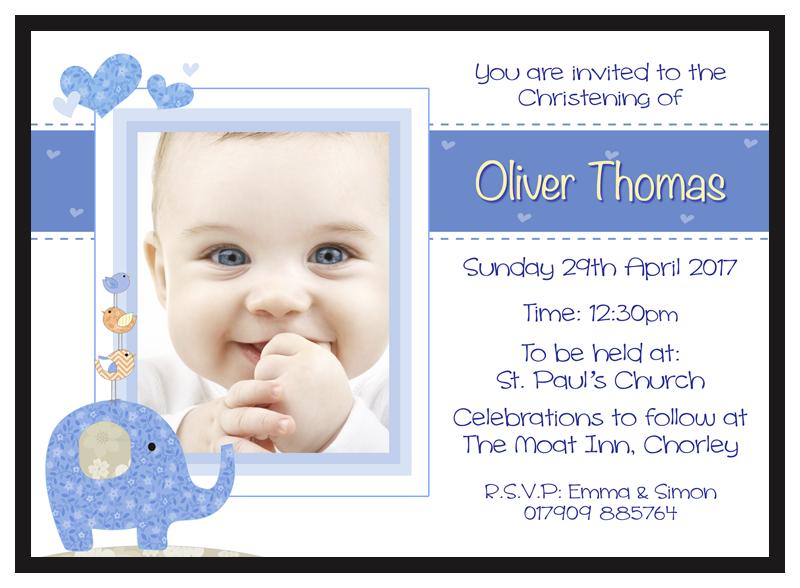 Christening Invitations Boy DL Designs Ltd