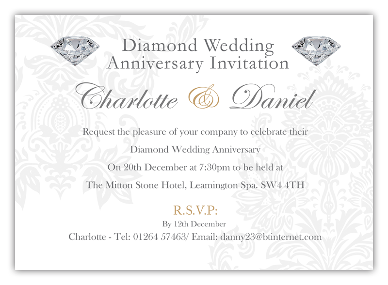 Diamond Wedding Invitations DL Designs Ltd