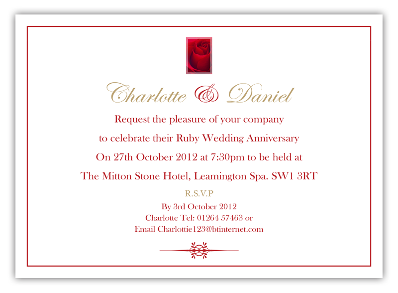 Ruby wedding invitations dl designs ltd design code rwa 1 stopboris Gallery